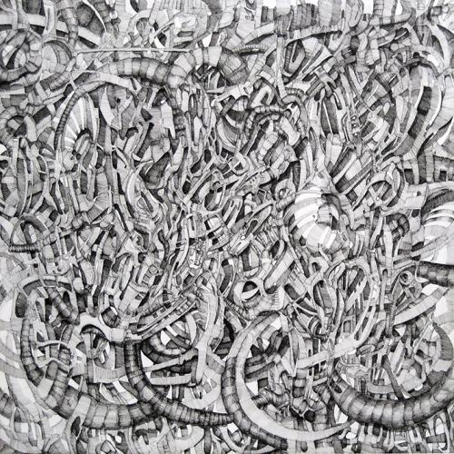 martin bozenhard - der garten - drawing - ink - 120cm x 120cm