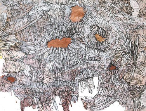 martin bozenhard - stoneflowerpetals - painting - ink - 110cm x 110cm - a